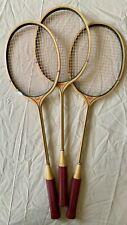 Vintage Set of 3 COURT Wooden Badminton Rackets / Racquets