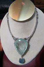 Gigantic Huge 184.5 ct aquamarine 5.9 ct diamond 14k white gold necklace choker