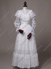 Viktorianisch Edwardianisch Weiß Hochzeitskleid Geist Braut Halloween Kostüm 392