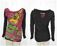 Womens Desigual Long Sleeve Jumper Shirt Drapped Neck Floral Jersey Size M