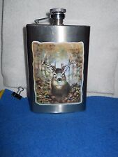 COLLECTORS 9 OZ STAINLESS STEEL METAL FLASK CONTAINER WITH BUCK DEER PICTURE