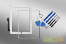 iPad 3 / 4 Digitizer Touchscreen Display Front Glas + Rahmen + Home Button weiss