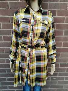 Womens Size 8 to 14 Longline Shirt Dress Chequered  Yellow
