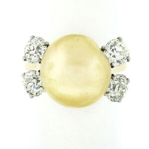 Vintage 14k Gold 12mm GIA Golden South Sea Pearl Old Eropean 2.0ctw Diamond Ring