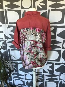 vintage pure pink silk shirt with customised back panel size M-L good condition