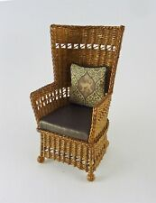 Dollhouse Miniature Artisan Handmade Tan Wicker Wing Chair