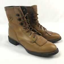Ariat Kiltie Roper Lace Up Womens 6 Tan Brown Leather Cowboy Boots