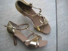 "Ladies Capezio Gold Ballroom Sandals UK Size 7.5 with 3.25"" heel *NEW*"