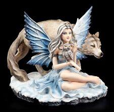 Elfen Figur - Veronica mit Eule und Wolf - Fantasy Fee Naturelfe Tiere Deko