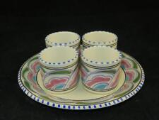 VINTAGE HONITON POTTERY Devon Condiment or Sauce Pots x 4 on Base EASTERN SCROLL