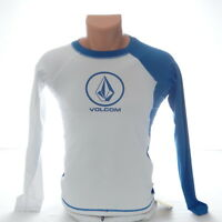 Volcom White & Blue Long Sleeve Rash Guard Surf Shirt 50+ UPF Youth Boy's XL NWT