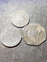 Lot of 3 Notgeld Coins Tokens 2-50 Pfennig 1-10 Pfennig