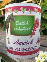 4x Tischlicht Schuleingang Tischdeko Windlicht Einschulung Pferd pink grün Name