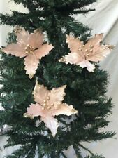 3 Delicate Pale Pink Gold Sparkle Finish Clip on Poinsettia Christmas Decoration