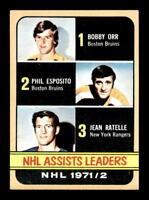 1972-73 Topps #62 Bobby Orr/Phil Esposito/Jean Ratelle LL DP NM X1359601