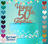 Personalised Custom Happy 50th 60th 70th 80th Gold Glitter Birthday Cake Topper