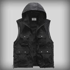 Mens Multiple pockets safari waistcoat hunting fishing Hooded vest photo jacket