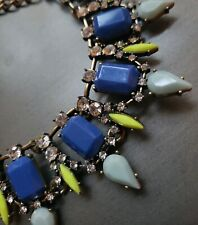Loft Necklace Navy Neon Pendants Clear Rhinestones Statement Antiqued Gold Chain