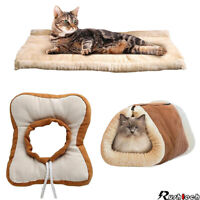 2 In 1 Pet Dog Cat Bed House Kennel Puppy Cave Warm Soft Mat Pad Recovery Collar