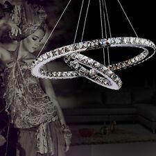 2 anelli di cristallo a LED lampada a sospensione lampadario a sospensione