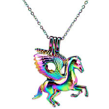 C843 Rainbow Color Horse Wing Running Locket Beads Pearl Cage Pendant Charms