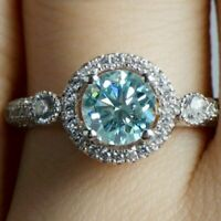 2.00 Ct Solitaire Aquamarine & Diamond Halo Engagement Ring 14k White Gold Over