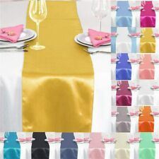 "12""x108"" Satin Table Runner Wedding Dinner Party Banquet Decor Tablecloth Linens"