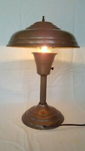 Vintage Industrial Atomic Age Desk Lamp, UFO / Flying Saucer Style