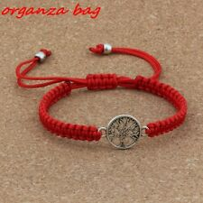 Antique silver Alloy Tree of Life charm Red Pure hand-woven Adjustable Bracelet