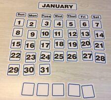 Blue Border January - 31 Laminated Calendar Squares + Blank Cards