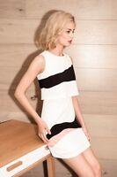 Elliatt Marvel Dress w Geometric Print Tiered Top in Black, White & Pink EL-1646