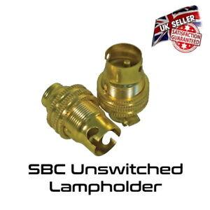 Brass Lamp Holder - UN Switched - Small Bayonet SBC - Bulb Holder *UK Stock*
