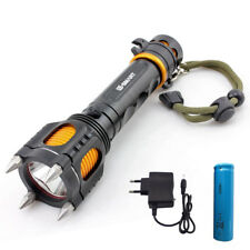 self defence T6 Led Flashlight torch lamp emergency Tactical 18650 battery