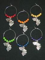 Set of 6 Glass Pearl Silver Rainbow Wine Glass Charms Drink Markers NEW