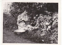 1970s Woman w/ mushrooms in basket and curious cat flowers Soviet Russian photo