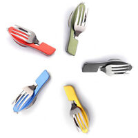 Stainless Steel Folding Cutlery Fork Spoon Tool Camping Hiking Utensil Outdoor