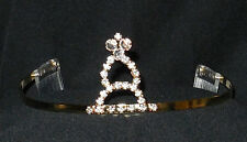 NEW GOLD METAL RHINESTONE TIARA CROWN DANCE Wedding Pageant #2515