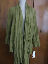 Jones New York Women's Green Pleated Long Cardigan Size Medium NWT