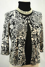 Ann Taylor Cardigan Sweater MP B&W floral button up 3/4 slv top fine knit silky