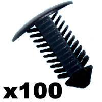100x Plastic Fir Tree Trim Clips- 8mm Hole, 18mm Head, Black- Perfect for VW