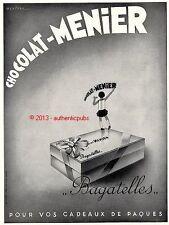 PUBLICITE CHOCOLAT MENIER BAGATELLES SIGNE HENCHOZ DE 1932 FRENCH AD PUB RARE