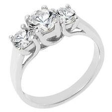 1.51 CARAT WOMENS 3-STONE PAST PRESENT FUTURE DIAMOND RING ROUND CUT WHITE GOLD