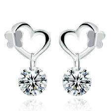 Women Elegant 925 Sterling Silver Butterfly Heart Crystal Drop Earrings Ear Stud