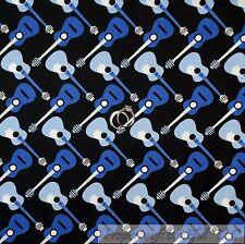 BonEful Fabric Cotton Quilt Black White B&W Blue Acoutic Guitar Music Dot SCRAP