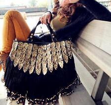 Womens leopard tassel tote shoulder bag cross body OL fashion casual lady @TY4