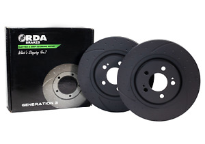 RDA Slotted And Dimpled Brake Rotor Pair Front RDA17D fits Holden Calais VL...
