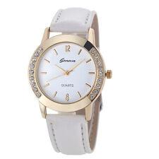 White Women Bracelet Bangle Leather Men Dial Quartz Analog Wrist Watch