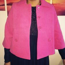 Ladies Single Breast Button Faux Kashmir Wool Jacket Coat Pink Short Arm Size 10