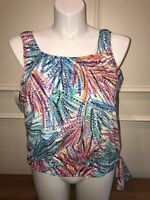 Swim Solutions Blouson Hides Tummy Tank Style Bust Support Tankini Top NWT 18W