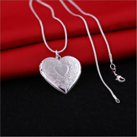925 Silver Heart Necklace Long Chain Locket Photo Pendant Wedding Jewelry Gift